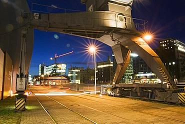 Duesseldorf Media Harbour at night, Duesseldorf, North Rhine-Westphalia, Germany, Europe