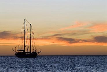 Sailing ship against the evening sky, Coche Island, Venezuela, South America