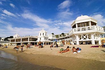 City beach, Playa de la Caleta with Balneario de la Palma in Cadiz, Andalusia, Spain, Europe