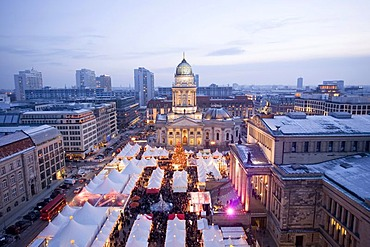 Elevated view of the Christmas Market, Gendarmenmarkt, Berlin, Germany, Europe
