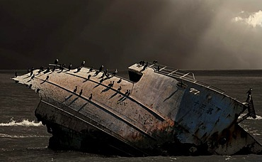 Wreck in the water, Cape Agulhas, Africa