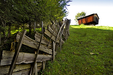 Wooden fence, granary from Ramsau, Glentleiten open-air museum, Bavaria, Germany, Europe