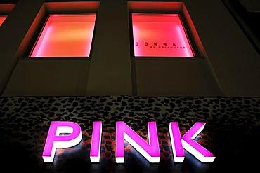 PINK, signage, Theatinerstrasse, Munich, Bavaria, Germany, Europe