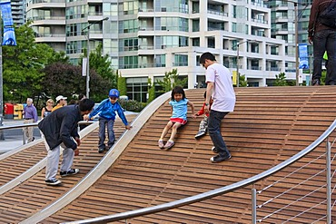 Toronto Waterfront WaveDecks, wooden sidewalks which won an Urban Design Award, at the Lake Ontario shores, Canada