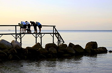 Jetty on the beach with family in the evening twilight, Funen, Fyn, Denmark, Europe
