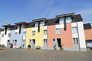 Modern, colourful houses, historic square, Linn, Krefeld, North Rhine-Westphalia, Germany, Europe