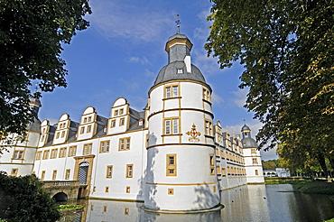 Corner tower, Schloss Neuhaus, moated castle, Weser Renaissance, Paderborn, North Rhine-Westphalia, Germany, Europe
