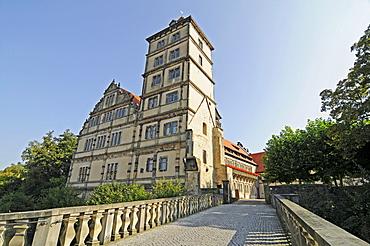 Bridge, Schloss Brake castle, Weserrenaissance Museum, Weser Renaissance Museum, moated castle, Lemgo, East Westphalia Lippe, North Rhine-Westphalia, Germany, Europe