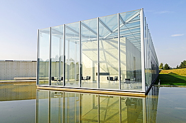 Glass, construction, modern architecture, pond, former missile base, art museum, Langen Foundation, architect Tadao Ando, Hombroich, Kreis Neuss district, North Rhine-Westphalia, Germany, Europe