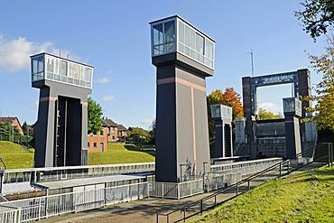 New boat lift, Henrichenburg boat lift, Schleusenpark, Waltrop Lock Park, Westphalian Industrial Museum, Route of Industrial Heritage, Dortmund Ems Canal, Waltrop, North Rhine-Westphalia, Germany, Europe