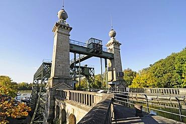 Henrichenburg boat lift, Schleusenpark, Waltrop Lock Park, Westphalian Industrial Museum, Route of Industrial Heritage, Dortmund Ems Canal, Waltrop, North Rhine-Westphalia, Germany, Europe