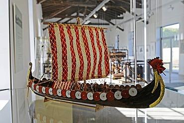 Historic sailing ship model, Henrichenburg boat lift, Schleusenpark, Waltrop Lock Park, Westphalian Industrial Museum, Route of Industrial Heritage, Dortmund Ems Canal, Waltrop, North Rhine-Westphalia, Germany, Europe