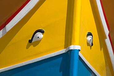 Close up of eyes on traditional wooden Maltese fishing boat, Luzzu, Marsaxlokk, Malta, Europe