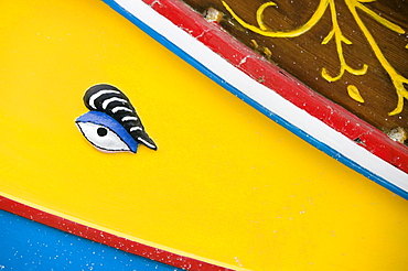 Close up of eye of traditional wooden Maltese fishing boat, Luzzu, Marsaxlokk, Malta, Europe