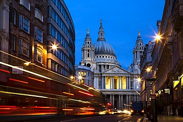 St Paul's Cathedral, traffic trails during blue hour, London, England, United Kingdom, Europe