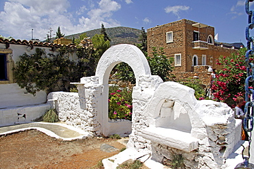 Stair arch, main building at back, chapel, Lychnostatis Open Air Museum, Museum of the traditional Cretan life, Hersonissos, Crete, Greece, Europe