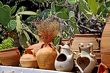 Clay and ceramic pots, Lychnostatis open-air museum, museum of local history, museum of traditional Cretan life, Hersonissos, Crete, Greece, Europe