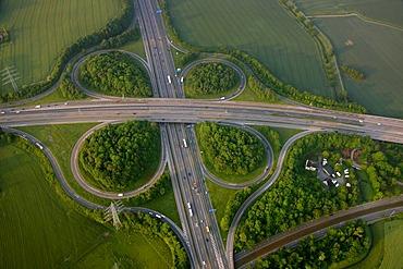 Aerial photo, BAB junction Bochum Witten, Ruhrgebiet area, North Rhine-Westphalia, Germany, Europe
