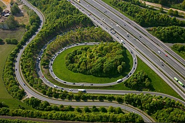 Aerial photo, A2 and A31 Friesenspiess motorway junction, Bottrop, Ruhrgebiet area, North Rhine-Westphalia, Germany, Europe