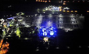 Aerial photo, Emscher sewage treatment plant with digestion towers at night, Kolonie Emscher, Bottrop, Extraschicht 2009 cultural festival, night flight, Bochum, Ruhrgebiet area, North Rhine-Westphalia, Germany, Europe