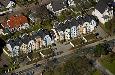 Aerial photo, residential development on Frankenstrasse, a street in Essen, Ruhr area, North Rhine-Westphalia, Germany, Europe