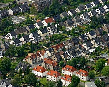 Aerial photo, Horst Coburg Strasse street, duplexes, rows of houses, Buer, Gelsenkirchen, Ruhrgebiet area, North Rhine-Westphalia, Germany, Europe