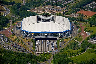 Aerial, Sportparadies sports paradise, Schalke Feld, Veltins-Arena stadium, S04 football club, Buer, Gelsenkirchen, Ruhrgebiet area, North Rhine-Westphalia, Germany, Europe