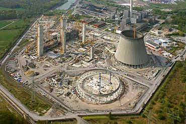 Aerial photo, Kraftwerk Westfalen power plant, power plant construction, coal power plant, RWE-Power, Datteln-Hamm-Kanal canal, Uentrop, Hamm, Ruhrgebiet region, North Rhine-Westphalia, Germany, Europe