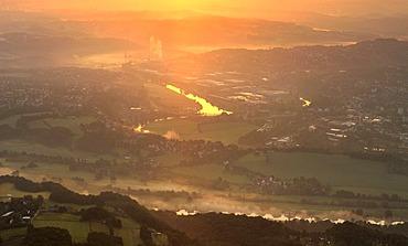 Aerial photo, sunrise, Ruhr river, Ruhr river valley, morning fog, Hattingen, Ruhrgebiet area, North Rhine-Westphalia, Germany, Europe
