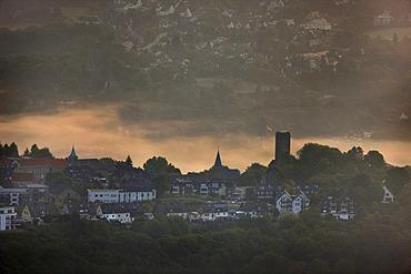Aerial photo, Burg Blankenstein castle, Kemnader Stausee reservoir in the morning light, Oberholthausen, Hattingen, Ruhrgebiet area, North Rhine-Westphalia, Germany, Europe