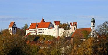 Cityscape in autumn, Fuessen am Lech, Ostallgaeu, Allgaeu, Upper Bavaria, Bavaria, Germany, Europe