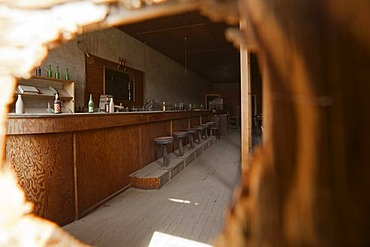 Bar in the Dechambeau Hotel, Bodie State Park, ghost town, mining town, Sierra Nevada Range, Mono County, California, USA
