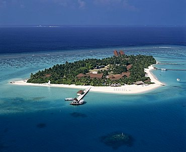 Laguna, Velassaru, aerial photograph, South Male Atoll, Maldives, Indian Ocean