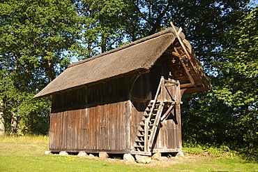 Historic Treppenspeicher storehouse in Wilsede, Lueneburg Heath Nature Park, Lower Saxony, Germany, Europe