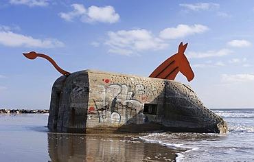 Art at a bunker, bunker from World War II decorated as a mule on the beach of Blavand, Jutland, Denmark, Europe