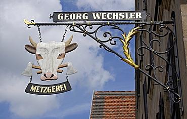 Butcher's sign, Spalt, Franconia, Bavaria, Germany, Europe