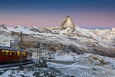Gornergratbahn mountain rack railway with Mt. Matterhorn, Zermatt, Switzerland, Europe