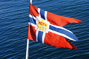 Flag of the mailboat Nordkapp, Hurtigruten, Norway, Scandinavia, Europe