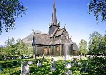 Stave church Lom, Norway, Scandinavia, Europe