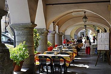 Arcades, Portici di Via Palazzo, Susa in the Susa valley, Valle di Susa, Provincia Torino, Piemont, Piedmont, Italy, Europe