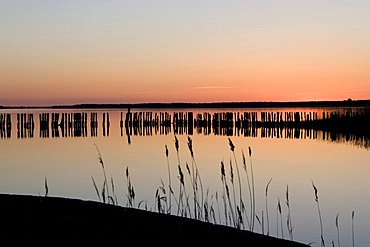 Sunset over the Great Jasmunder Bodden, Ruegen Island, Baltic Sea coast, Mecklenburg-Western Pomerania, Germany, Europe