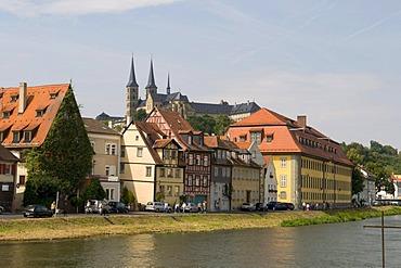 Michaelsberg hill with Michaelsberg Abbey or St. Michael's Abbey on the Regnitz River, Bamberg, Franconian Switzerland, Franconia, Bavaria, Germany, Europe