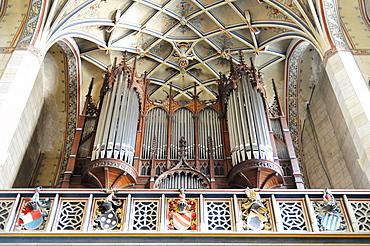 Organ by Friedrich Ladegast, built between 1864-1892, Evangelische Schlosskirche Protestant castle church, Luther city Wittenberg, Saxony-Anhalt, Germany, Europe