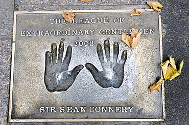 Sir Sean Connery, plaque with palm prints, Leicester Square, London, England, United Kingdom, Europe