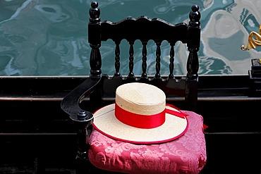 Detail, gondolier's hat, gondola, Grand Canal, Venice, Veneto, Italy, Europe