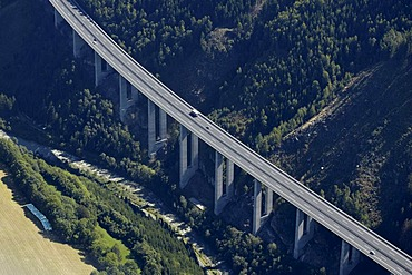 Tauern Motorway A10 near Gmuend, Liesertal Valley, aerial photo, Carinthia, Austria, Europe