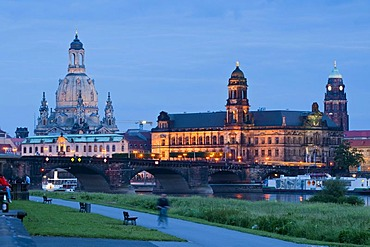Baroque Dresden at dusk, River Elbe, Staendehaus, Frauenkirche Church of Our Lady, Dresden, Saxony, Germany, Europe