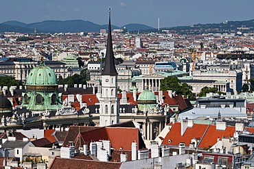View from St. Stephen's Cathedral on the city with Hofburg and Parliament, Vienna, Austria, Europe