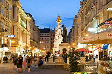 Graben street at dusk, Vienna, Austria, Europe