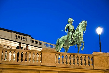Equestrian statue in front of Albertina Palace at dusk, Vienna, Austria, Europe